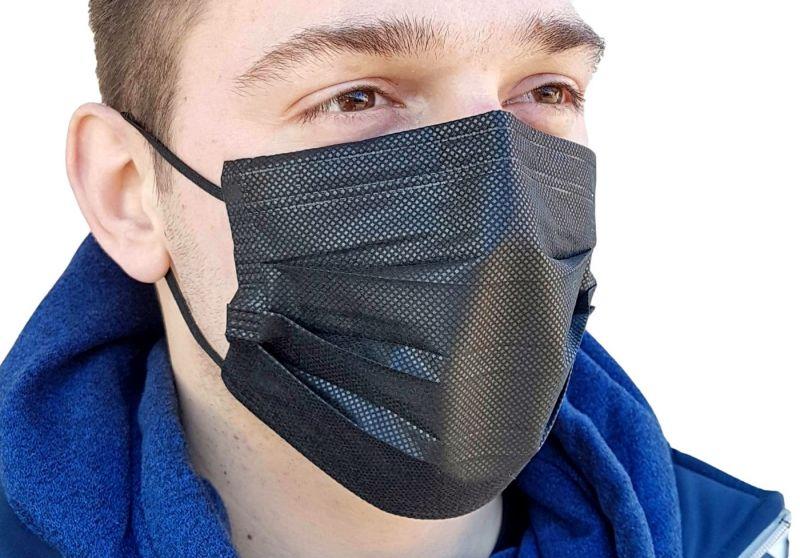 Crna zaštitna maska, troslojna jednokratna