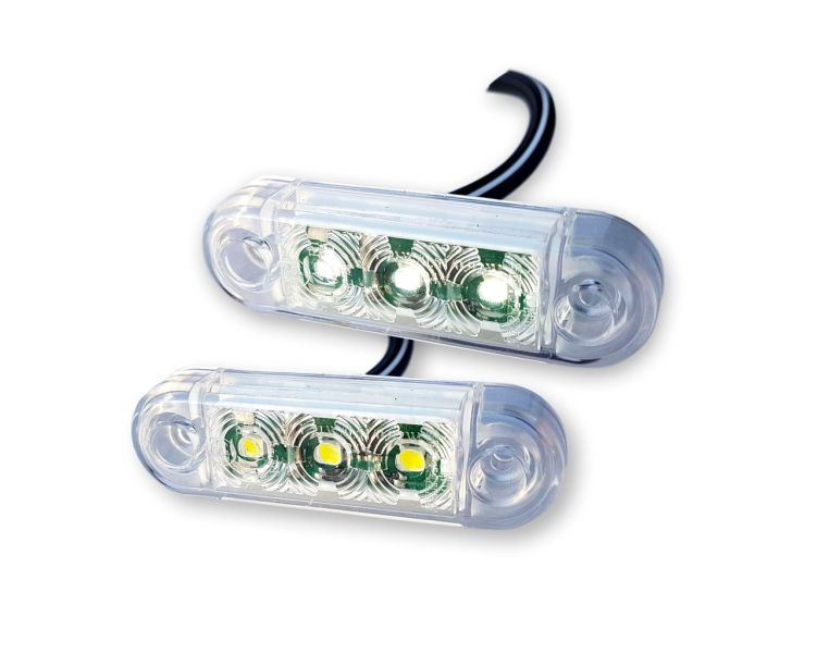 Bijelo Pozicijsko svjetlo  3-LED 12/24V 6,50cm  E-homolog.